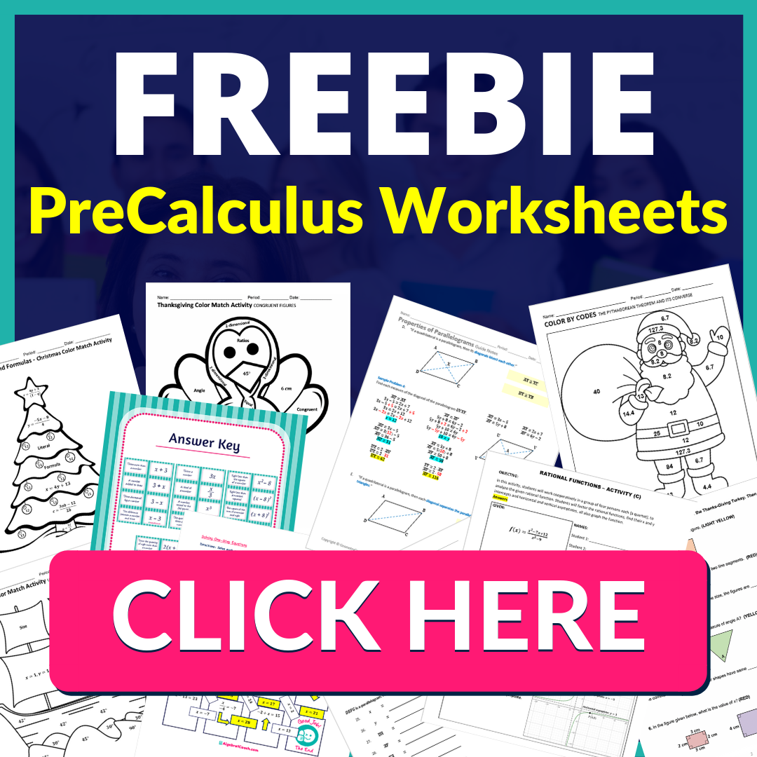 Free Pre-Calculus Worksheets, Free Pre-Calculus Lesson Plans, Free PreCalculus Activities